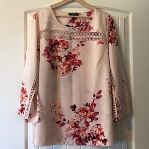 Alfani floral tunic blouse w/ bell sleeves